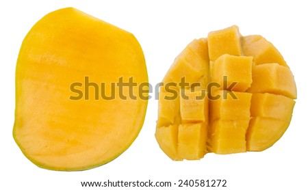High resolution and quality photo of ripe mango cut on white background