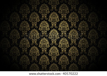 high resolution background wallpaper with fine detailed golden paint ornaments - stock photo