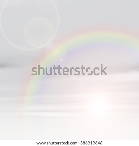 High resolution beautiful natural rainbow sky with white clouds paradise cloudscape square background  for summer spring season, space, environment, freedom, meteorology, atmosphere, heaven tranquil - stock photo