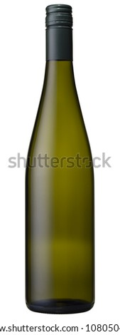 High resolution blank green glass wine bottle isolated - stock photo