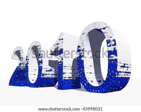 High resolution blue and white 3D 2010 year isolated on white background - stock photo