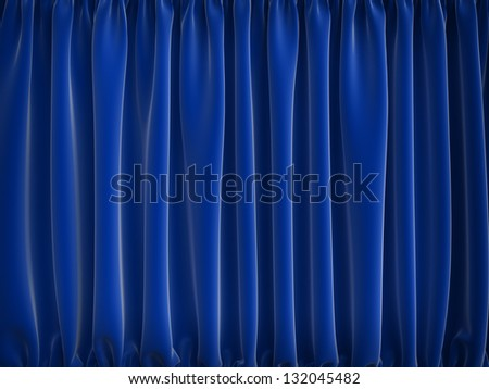 high resolution blue curtains, 3d render