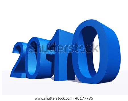 High resolution blue 3D 2010 year isolated on white background - stock photo