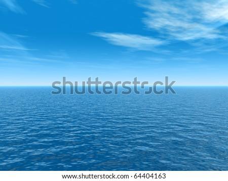High resolution blue water and sky - stock photo