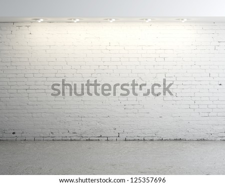 High resolution brick concrete room - stock photo