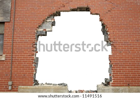 High resolution broken brick wall background with copyspace - stock photo