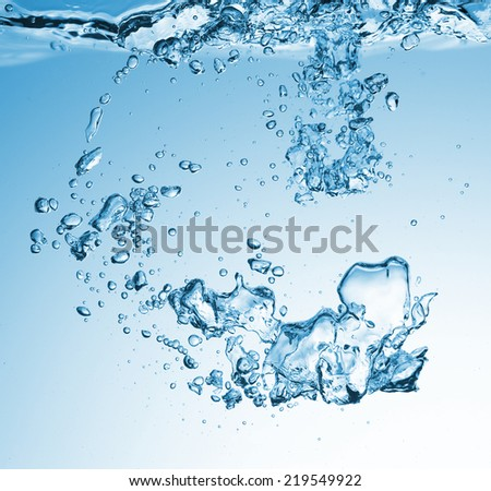 High resolution. Bubbles in fresh water. Beautiful blue background.
