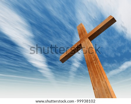 High resolution christian cross made of wood over a beautiful sky background, ideal for holiday, Christmas, Easter and religion designs - stock photo