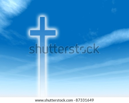 High resolution Christian cross over a beautiful sky with plane trail or trace