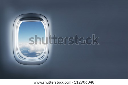High resolution clouds in aircraft's porthole