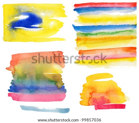 High resolution collection of colorful abstract watercolor backgrounds. - stock photo