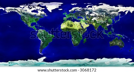 high resolution colored world map - stock photo