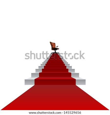 High resolution concept conceptual 3d red carpet stair climbing to leader,chief or promotion chair on top isolated white background,for career,business,success,achievement,winner,goal,step or victory