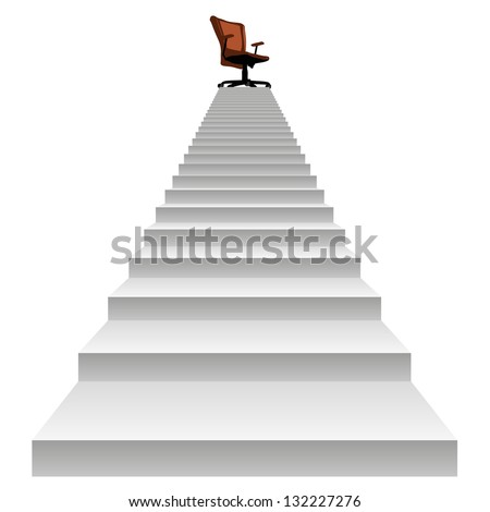 High resolution concept conceptual 3d stair climbing to a leader,chief or promotion chair on top isolated white background,metaphor to career,business,success,achievement,winner,goal,step or victory - stock photo