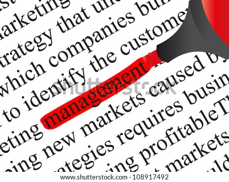 High resolution concept or conceptual abstract black text isolated on white paper background with a red marker as a metaphor for management,business,marketing,target,highlight,solution or branding - stock photo