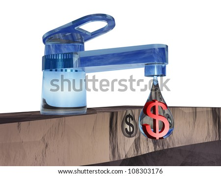High resolution concept or conceptual abstract tap with a drop falling isolated on white background as a metaphor for money,dollar,crisis,finance,economy,waste,banking,business,loss,source or wealth - stock photo