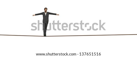 High resolution concept or conceptual 3D human male or businessman walking on rope isolated on white background as metaphor to balance,danger,risk,success,dangerous,equilibrium,acrobat,courage or job - stock photo