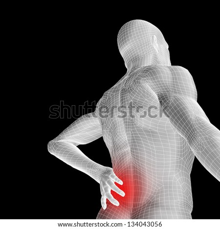 High resolution concept or conceptual 3d human male or man anatomy isolated on black background as metaphor to pain,back,body,spine,backache,medical,injury,medicine,health,hurt,painful,spinal  therapy - stock photo