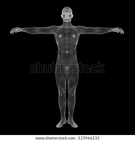 High resolution concept or conceptual 3d male or man running over a black background as a metaphor for anatomy,body,biology,medicine,muscle,mesh,muscular,anatomical,science,education,sport or x-ray - stock photo