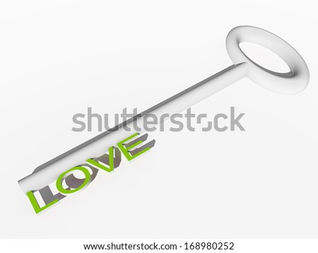 High resolution concept or conceptual green and white 3d key isolated on white background, metaphor for family,education,life,home,love.Also for success,romantic,wedding,romance,couple or achievement - stock photo