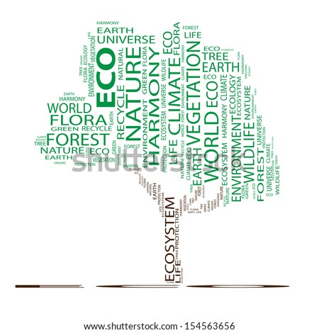 High resolution concept or conceptual green text word cloud as tree isolated on white background,metaphor to nature,ecology,green,energy,natural,life,world or global,protect,environmental or recycling