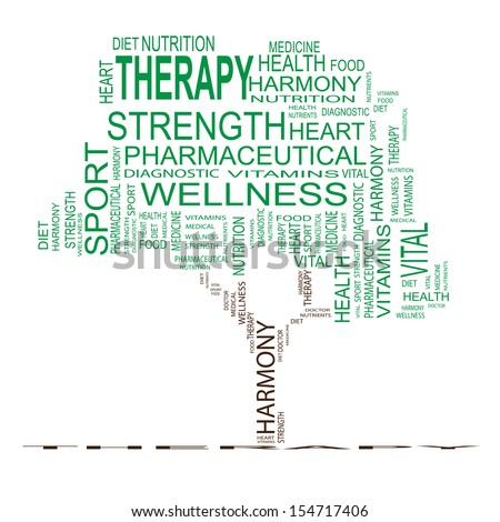 High resolution concept or conceptual green text word cloud or tagcloud as a tree isolated on white background, metaphor for health,nutrition,diet,wellness,body,energy,medical,sport, heart or science
