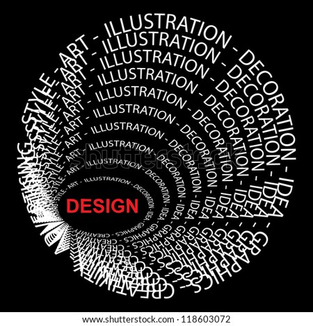 High resolution concept or conceptual red and white round text wordcloud or tagcloud isolated on black background as metaphor for design,graphic,idea,style,creative,artist,art,decor or abstract - stock photo
