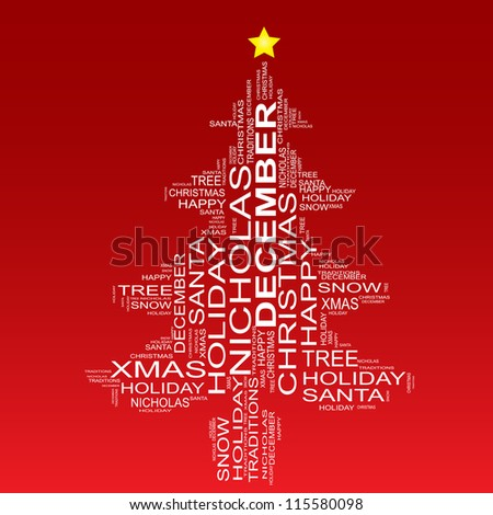 High resolution concept or conceptual white Christmas tree isolated on a red background made of text or words as wordcloud, metaphor holiday, Santa, tradition, christian, festive,religion,joy for child