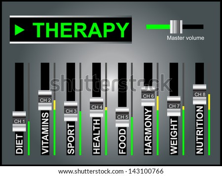 High resolution concept or conceptual white text word cloud tagcloud as DJ mixer on gray background, metaphor for health,nutrition,diet,wellness,body,therapy,weight,energy,medical,sport,heart science - stock photo