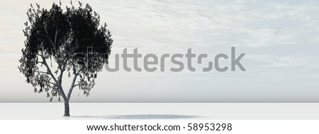 High resolution conceptual banner with a tree - stock photo