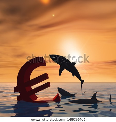 High resolution conceptual bloody euro symbol or sign sinking in water or sea, with black sharks eating as a metaphor or concept for crisis in Europe, ideal for financial,business or currency designs - stock photo