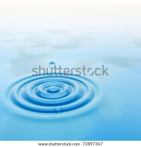 High resolution conceptual blue water drop falling background