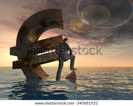 High resolution conceptual currency euro symbol and 3D businessman sinking in ocean as a concept for European crisis Conceptual 3D currency euro symbol sinking in water, sea or ocean with business man - stock photo