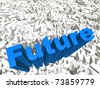 High resolution conceptual 3D blue text on a background of white texts as a crowd. The text says future, ideal for business designs. - stock photo