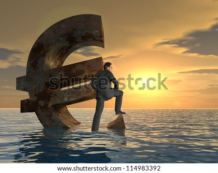 High resolution conceptual 3D currency euro simbol sinking in water,sea or ocean as a concept for European crisis.A metaphor for financial,banking,businessman,economy,problem,danger,risk at sunset