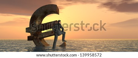 High resolution conceptual 3D currency euro symbol sinking in water,sea or ocean as a concept for European crisis, metaphor for financial,banking,businessman,economy,problem,danger,risk sunset banner - stock photo