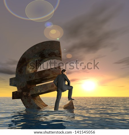 High resolution conceptual 3D currency euro symbol sinking in water,sea or ocean as concept for European crisis,metaphor for financial,square,banking,businessman,economy,problem,danger,risk at sunset - stock photo