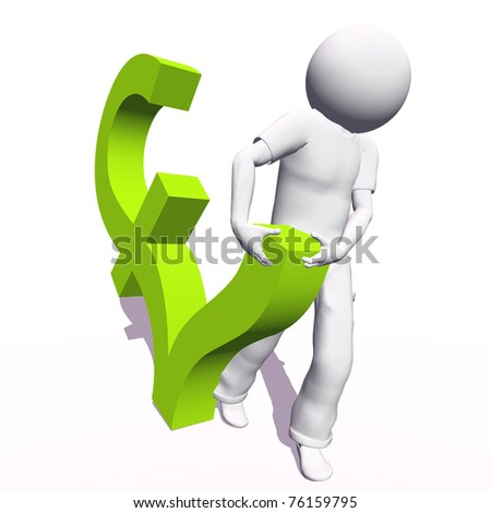 High resolution conceptual 3D human carrying a green pound symbol, isolated on white background.It is a metaphor ideal for business or banking design - stock photo