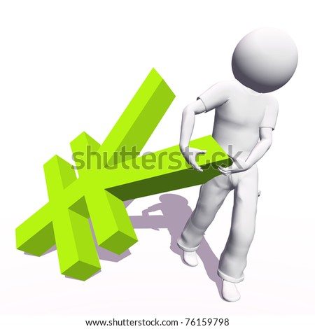 High resolution conceptual 3D human carrying a green yen symbol, isolated on white background.It is a metaphor ideal for business or banking design - stock photo