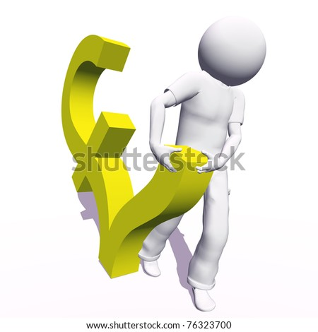 High resolution conceptual 3D human carrying a yellow pound symbol, isolated on white background.It is a metaphor ideal for business or banking design - stock photo