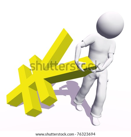High resolution conceptual 3D human carrying a yellow yen symbol, isolated on white background.It is a metaphor ideal for business or banking design - stock photo
