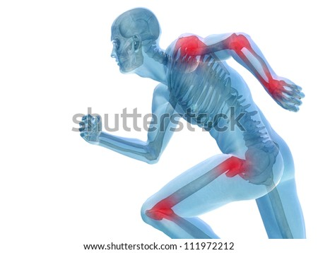 High resolution conceptual 3D human for anatomy,medicine and health designs, isolated on white background. A man made of a skeleton and a transparent blue body as in a x-ray with red painful hotspots - stock photo