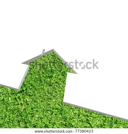 High resolution conceptual green grass house background isolated on white, ideal for ecology, green or natural designs - stock photo
