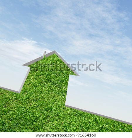 High resolution conceptual green grass house background over a sky, ideal for ecology, green or natural designs - stock photo