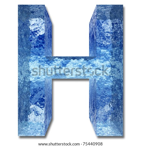 High resolution conceptual ice or water font isolated on white background, ideal for nature, summer or winter designs - stock photo
