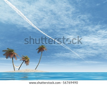 High resolution conceptual island with palm trees, a hammock in blue sea water and a blue sky with plane trails - stock photo