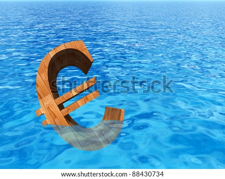 High resolution conceptual old wood euro symbol or sign sinking in water or sea as a metaphor or concept for crisis in Europe, ideal for financial,business or currency designs - stock photo