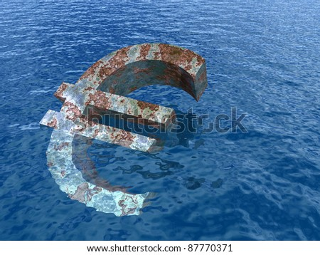 High resolution conceptual rusty metal euro symbol or sign sinking in water or sea as a metaphor or concept for crisis in Euope, ideal for financial,business or currency designs - stock photo