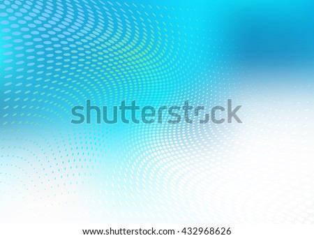 High Resolution Creative Abstract .jpg of soft blue wave of dots on cool blue background. Plenty of copy space. - stock photo