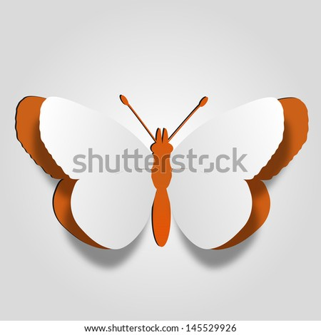 High resolution 3D abstract concept or conceptual white paper with orange background butterfly shape symbol,metaphor to spring,summer,art,beauty,education,elegance,paperwork,card,creative or sticker - stock photo